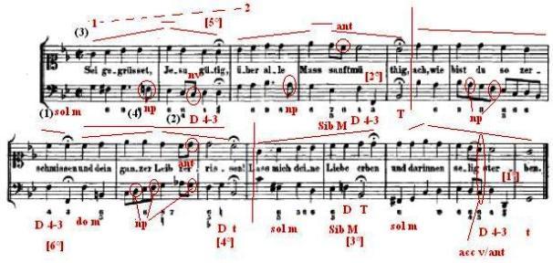 Analisi schematica canto sacro 65 J.S. Bach